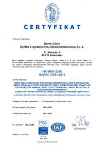 certyfikat ISO Sante Clinic miniatura